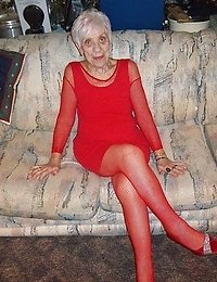 89 year old Granny Marg shows off her red lingerie  In this photo set youll see her spread her pussy open play with a whip and suck some cock at the e